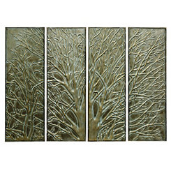 Embossed Tree Metal Panel Plaques, Set of 4
