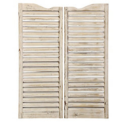 Weathered Ivory Window Shutter Plaques, Set of 2