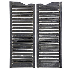 Weathered Black Window Shutter Plaques, Set of 2