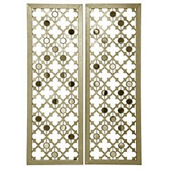 Quatrefoil Mirrored Metal Panel Plaques, Set of 2
