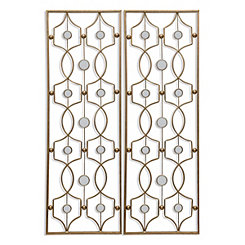 Gold Mirror Dots Metal Panel Plaques, Set of 2