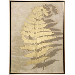 Gold Fern Framed Canvas Art Print
