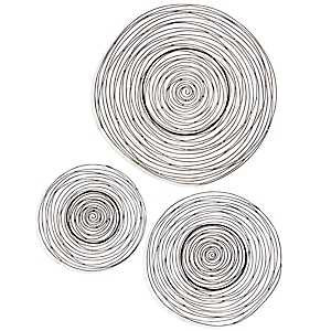 Dark Bronze Coiled Metal Wall Plaques, Set of 3