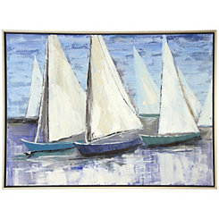 Sailboats Framed Canvas Art Print