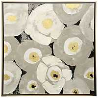 Gray and Yellow Floral Framed Canvas Art Print