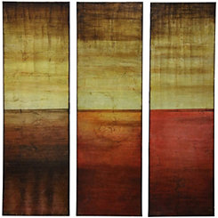 Warm Tone Foil Panel Canvas Art Prints, Set of 3