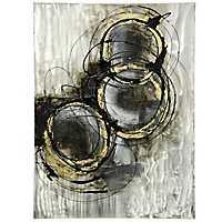 Black and Gold Circles Metal Art Print