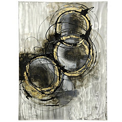 Black and Gold Circles Metal Art Print