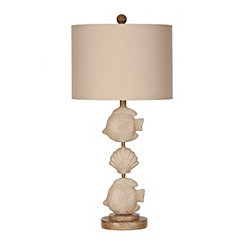 Cream Stacked Fish Table Lamp