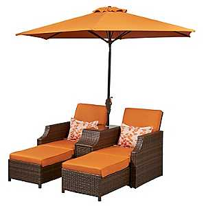 Orange Cruz Dual Loungers with Umbrella and Table