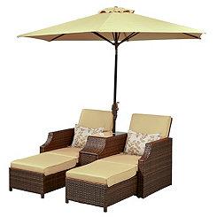 Tan Cruz Dual Loungers with Umbrella and Table
