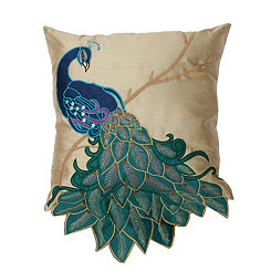 Embroidered Fancy Peacock Pillow