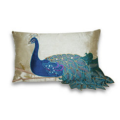 Embroidered Fancy Peacock Accent Pillow