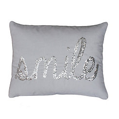 Silver Smile Sequin Script Pillow