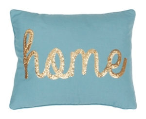 Nile Blue Home Sequin Script Pillow