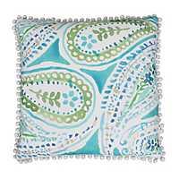 Katerina Blue and Green Paisley Pillow