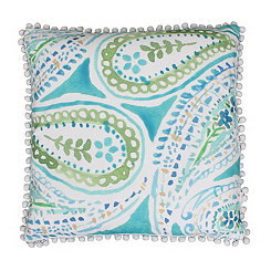 Katerina Blue and Green Paisley Pillow