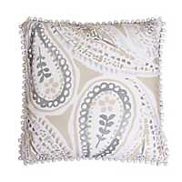 Katerina Silver and Beige Paisley Pillow