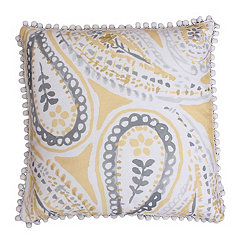Katerina Silver and Yellow Paisley Pillow