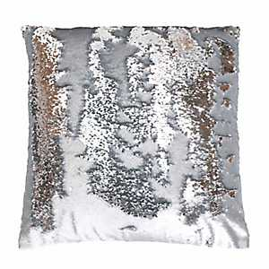 Silver Melody Mermaid Sequin Pillow