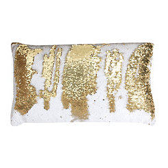 White and Gold Melody Mermaid Sequin Accent Pillow