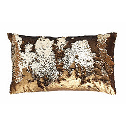 Copper Melody Mermaid Sequin Accent Pillow