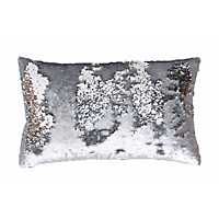 Silver Melody Mermaid Sequin Accent Pillow