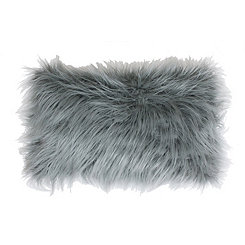 Silver Keller Faux Fur Accent Pillow