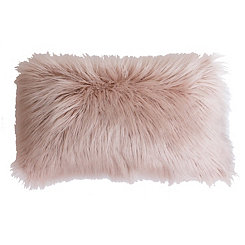 Rose Smoke Keller Faux Fur Accent Pillow