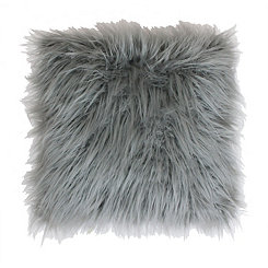 Silver Keller Faux Fur Pillow
