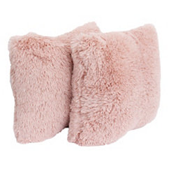 Rose Smoke Faux Fur Pillows, Set of 2