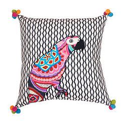 Iago Parrot Printed Pom Pom Pillow