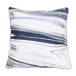 Kia Marbled Flannel Gray and Silver Foil Pillow