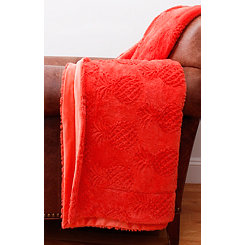 Pattie Coral Quartz Pineapple Faux Fur Blanket