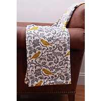Selma Yellow Bird Printed Blanket