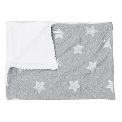 Sophia Gray and Silver Foil Stars Jersey Blanket