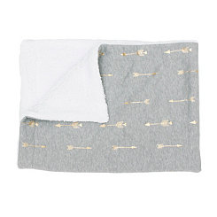 Ava Gray and Gold Foil Arrow Jersey Blanket