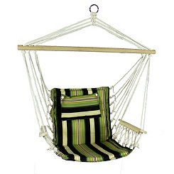 Green and Black Striped Hammock Chair