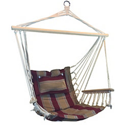 Red and Tan Striped Hammock Chair