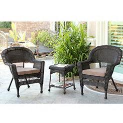 Espresso Wicker Chairs and Table, Set of 3