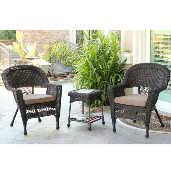 espresso wicker chairs and table set of 3