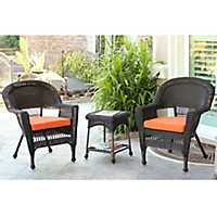 Orange Espresso Wicker Chairs and Table, Set of 3