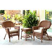 Honey Wicker Chairs and Table, Set of 3