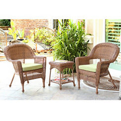Green Honey Wicker Chairs and Table, Set of 3