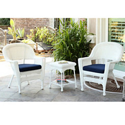 White Wicker Chairs and Table, Set of 3