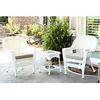 Tan and White Wicker Chairs and Table, Set of 3