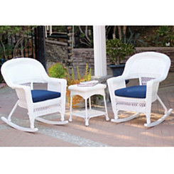 Navy and White Wicker Rockers and Table, Set of 3