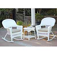 Tan and White Wicker Rockers and Table, Set of 3
