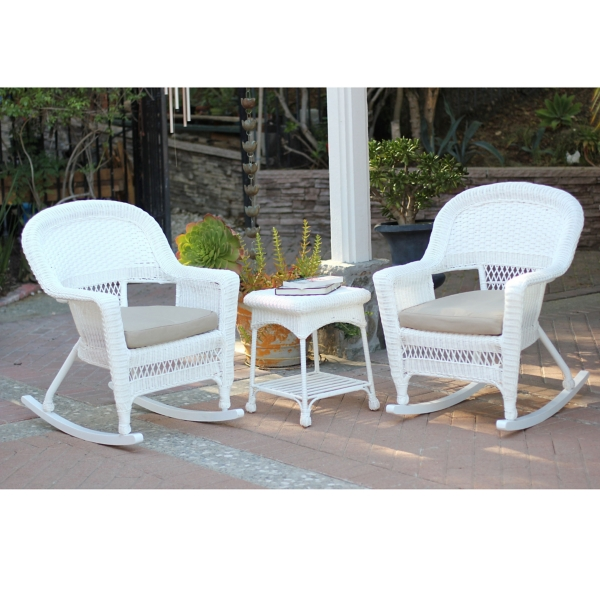tan and white wicker rockers and table set of 3 - Wicker Rocking Chair