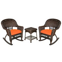 Orange Espresso Wicker Rockers and Table, Set of 3